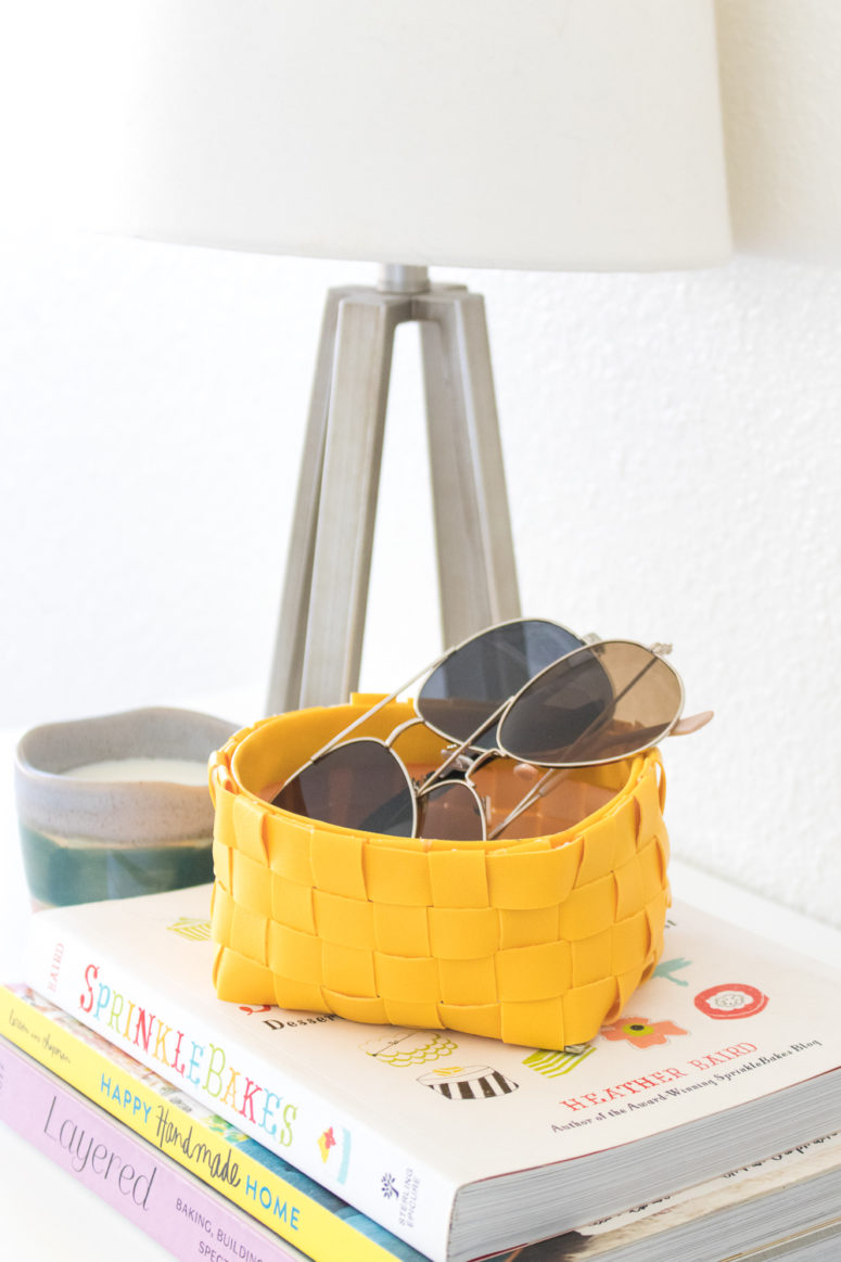 DIY leather woven storage basket (via clubcrafted.com)
