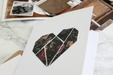 DIY geometric moody floral heart cards