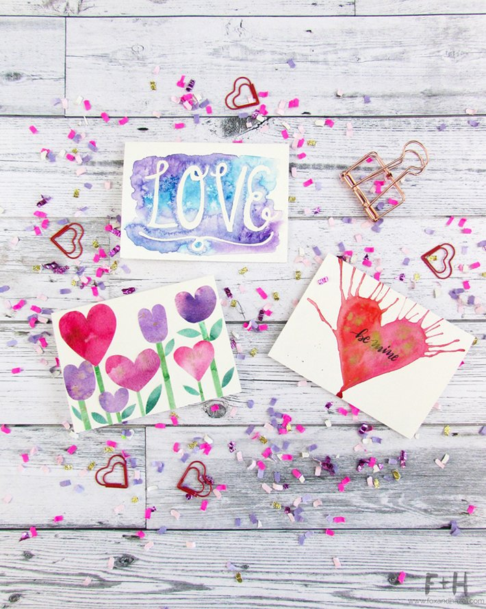 DIY watercolor Valentine's Day cards (via www.foxandhazel.com)