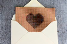 DIY embroidered heart on breadboard card