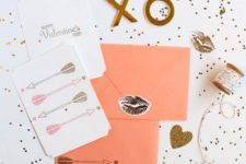 DIY arrow stamped cards for Valentine's Day