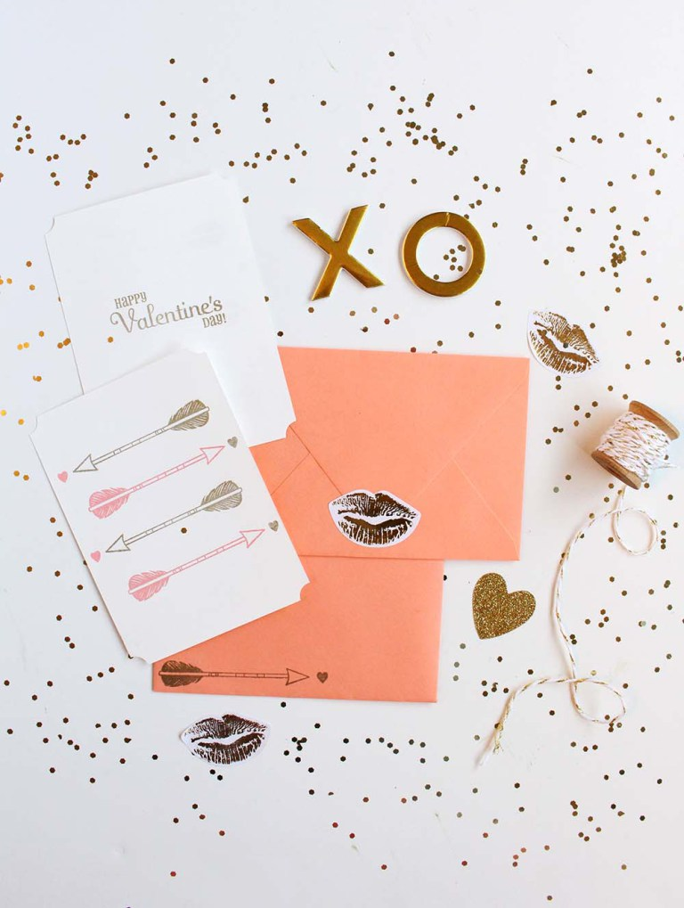 DIY arrow stamped cards for Valentine's Day (via www.goldstandardworkshop.com)