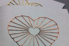 DIY grey cards with gold and copper lacing hearts