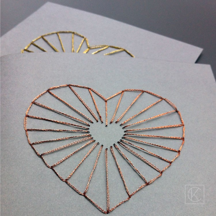 DIY grey cards with gold and copper lacing hearts (via kraftandcarat.com)