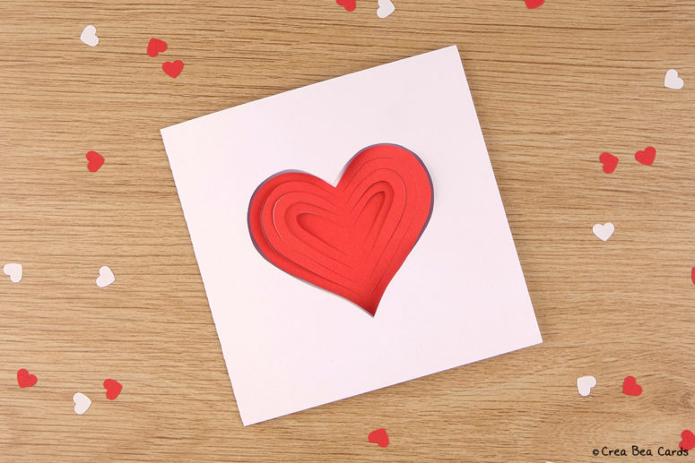 DIY simple papercut heart card for Valentine's Day (via www.creabeacards.com)