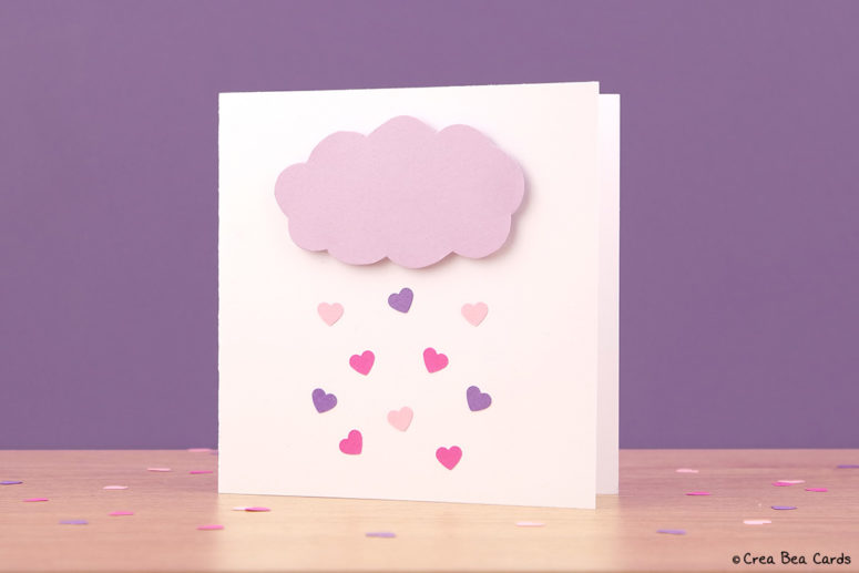 DIY heart rain clous card (via www.creabeacards.com)