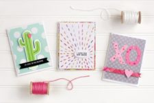 DIY embroidered cards in three different ways for Valentine's Day