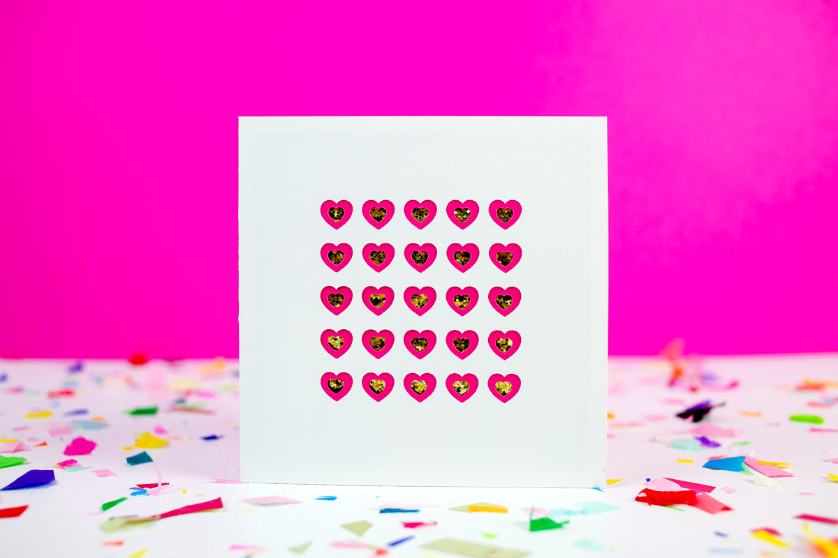 DIY paper cut Valentine's Day cards with gold touches