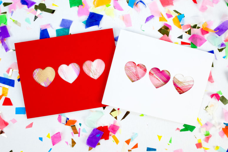 DIY brushstroke painted Valentine's Day heart cards (via tinselandtrim.com)