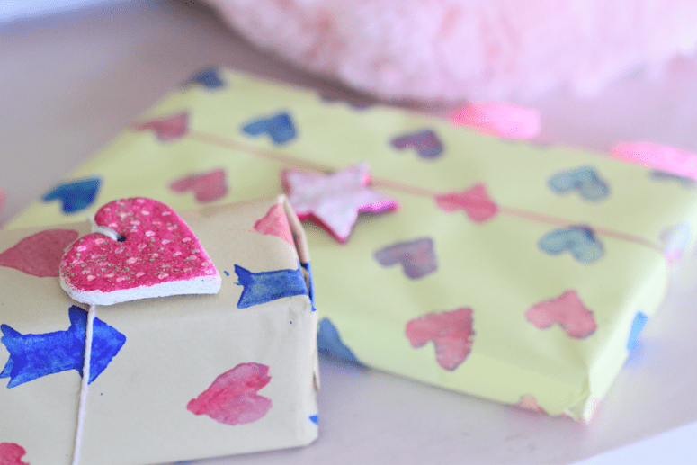 DIY stamped gift wrap (via surelysimple.com)