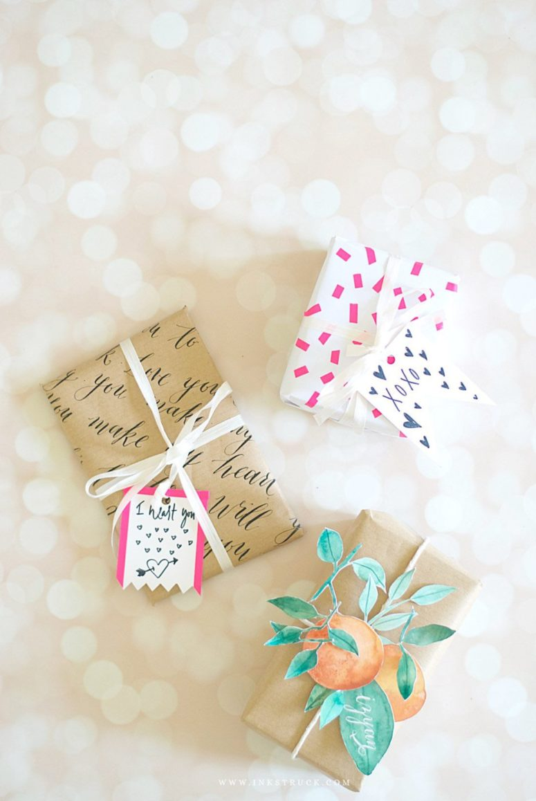 DIY calligraphy and washi tape gift wraps (via www.inkstruck.com)