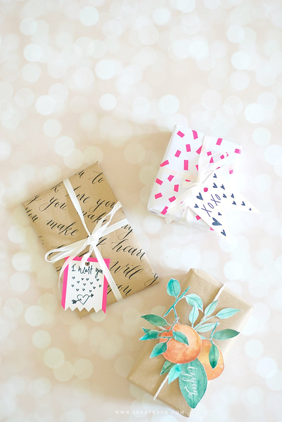 DIY calligraphy and washi tape gift wraps
