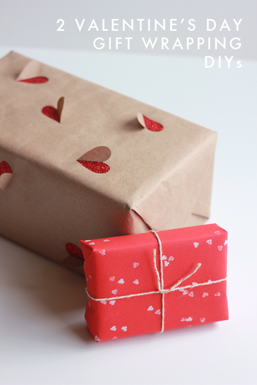 DIY 3D heart and stamp wrapping paper (via thehousethatlarsbuilt.com)