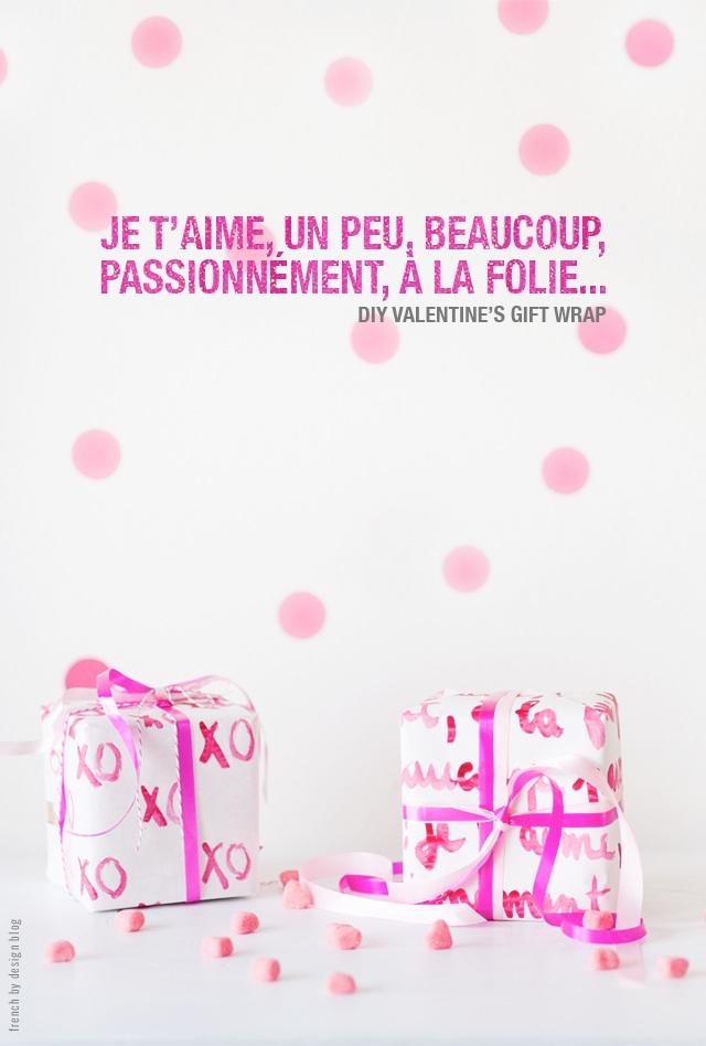 DIY modern pink gift wrap (via frenchbydesignblog.com)