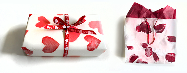 DIY rose petals and hearts gift wrapping (via www.stephaniewhitetravels.com)