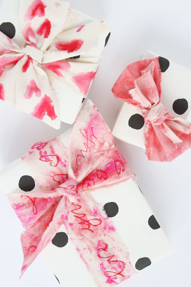 DIY Valentine's Day watercolor fabric wraps