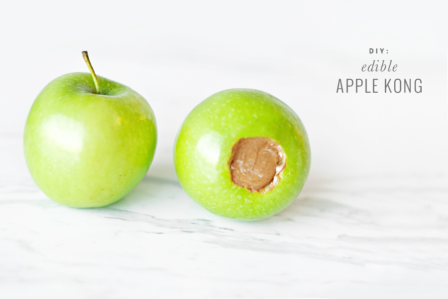 DIY edible dog toy of an apple and peanut butter