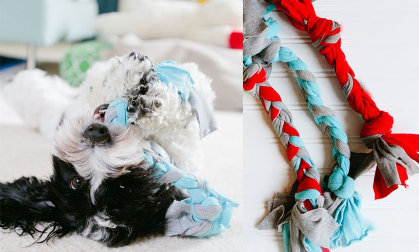 DIY dog toy braid of old shirts