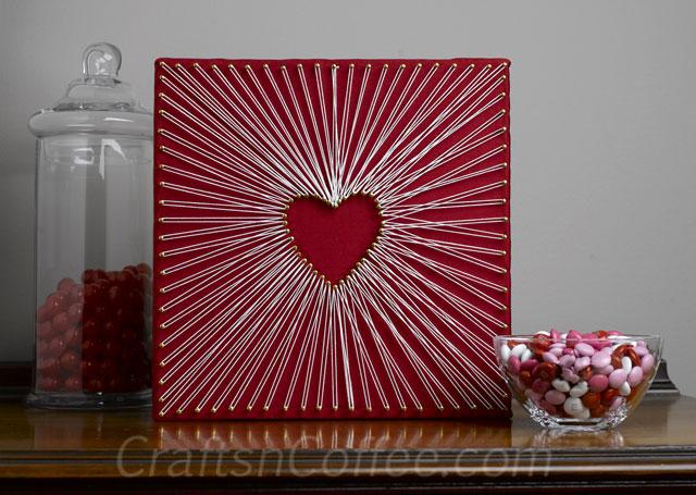 DIY bold red string art piece (via craftsncoffee.com)
