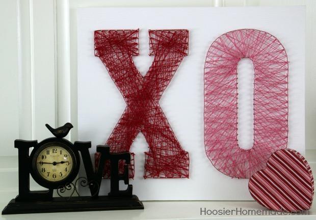 DIY XO letter string art piece (via hoosierhomemade.com)