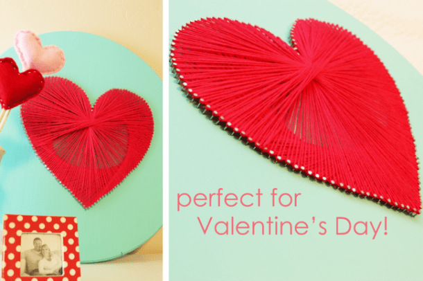 DIY mint and red string art piece (via www.thesitsgirls.com)