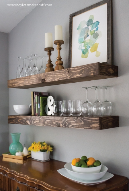 DIY dining room floating shelves (via www.shelterness.com)