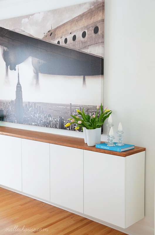 DIY floating sideboard with a wooden top (via www.remodelaholic.com)