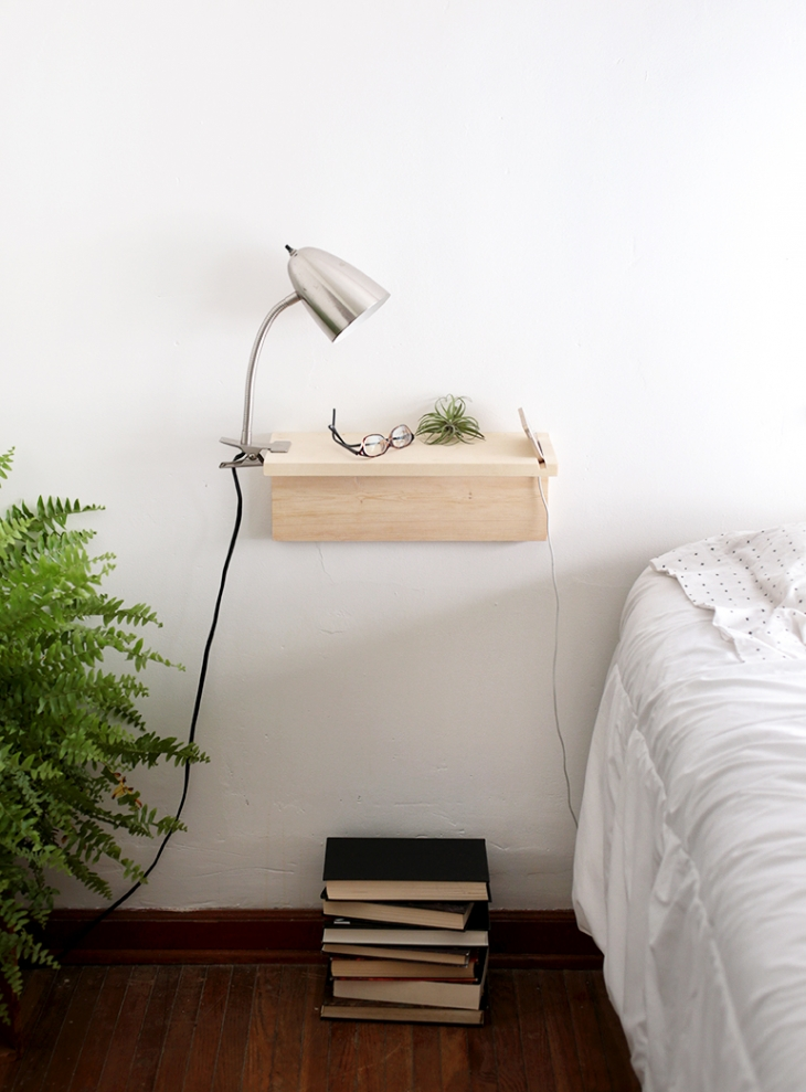 DIY floating nightstand (via themerrythought.com)