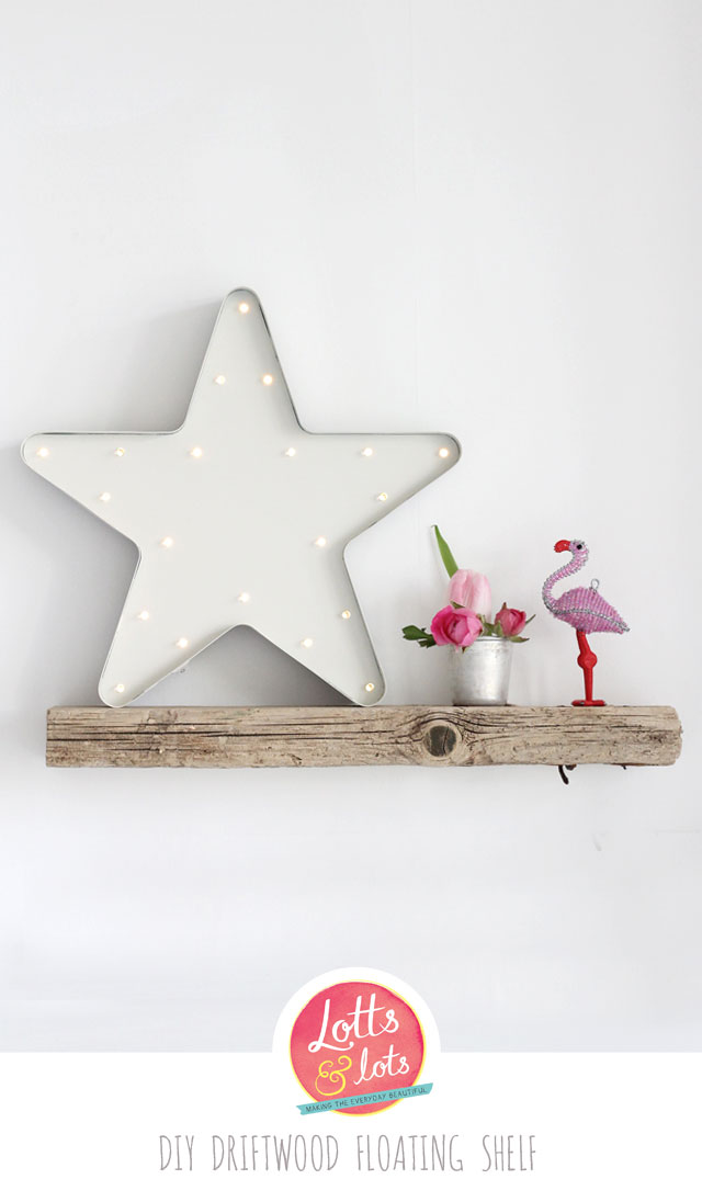DIY floating driftwood shelf (via www.lottsandlots.com)
