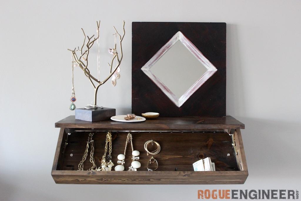 DIY floating shelf with a secret space