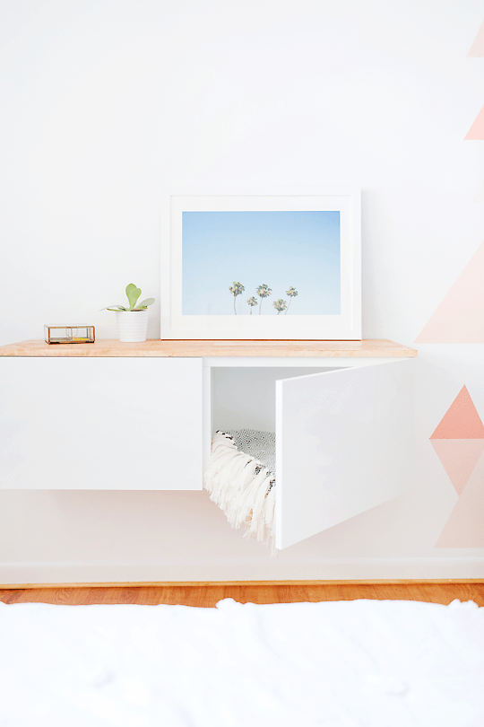 DIY IKEA hack floating credenza (via sugarandcloth.com)