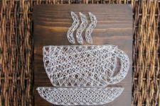02 a chic white coffee cup string art looks gorgeous and will fit a modern space