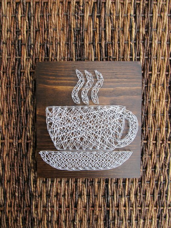 a chic white coffee cup string art looks gorgeous and will fit a modern space