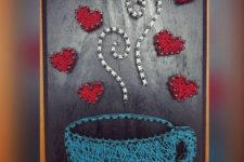 04 a colorful string art piece with a blue cup of coffee and bold hearts for a cute look