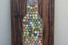 05 a beer bottle string art with colorful bottle lids is a bold idea for a home bar