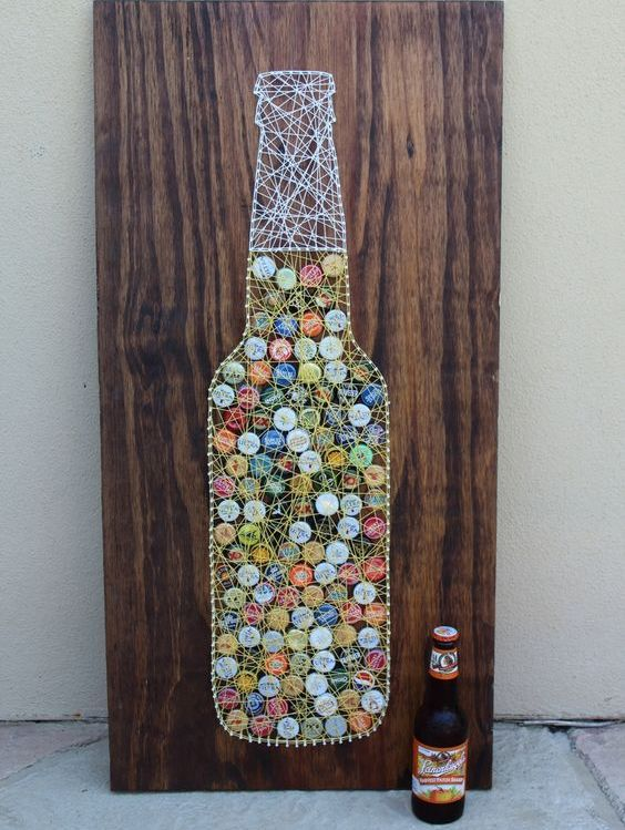 a beer bottle string art with colorful bottle lids is a bold idea for a home bar