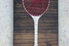 07 a chic wine glass string art in red and white with a heart is great for a girlish space