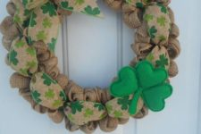 burlap wreath for st.patrick's day