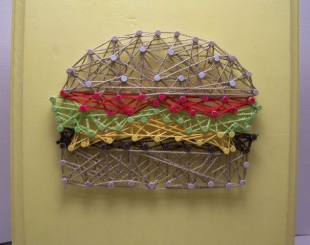 a fun burget string art is a great idea for fast food fans