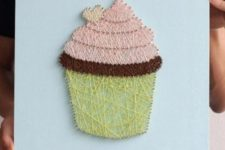 13 a stylish cupcake string art in yellow, blush and chocolate brown makes your mouth water