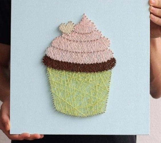 a stylish cupcake string art in yellow, blush and chocolate brown makes your mouth water