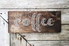 16 make a chic coffee word sign for the coffee station or bar