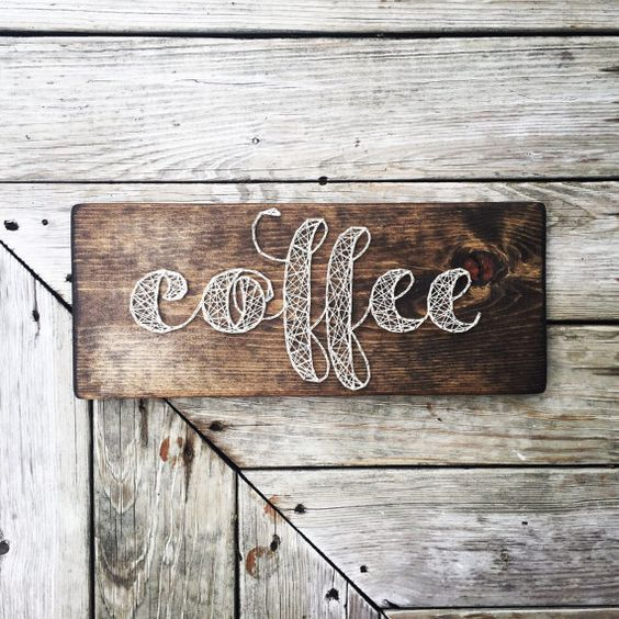 make a chic coffee word sign for the coffee station or bar