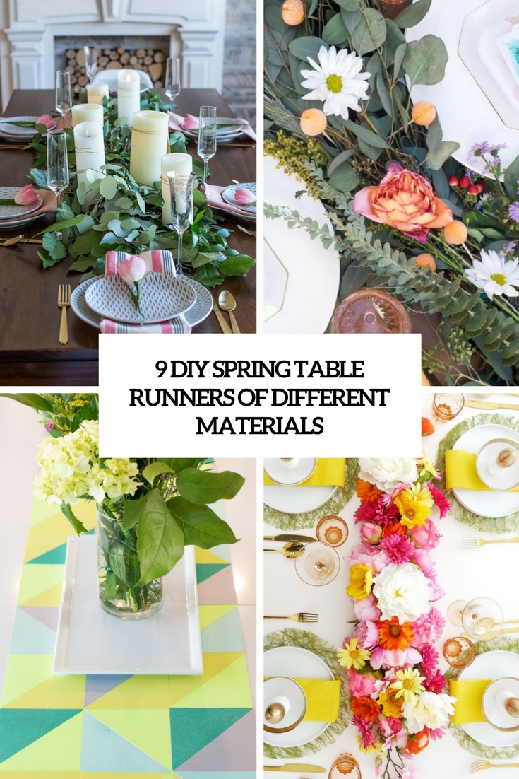 9 diy spring table runners of different materials cover