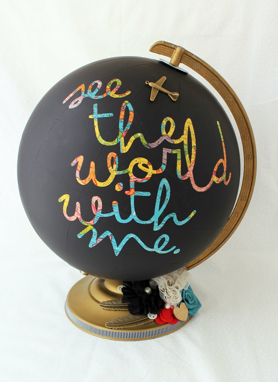 DIY chalkboard globe with colorful letters