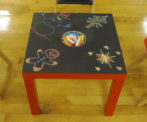 DIY IKEA Lack hack into a chalkboard table