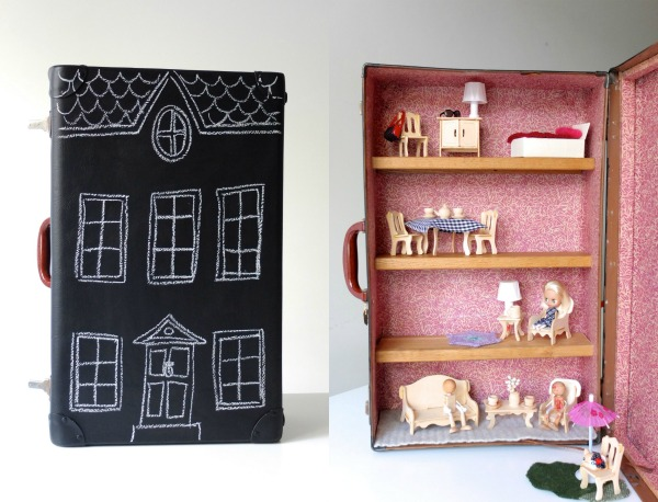 DIY chalkboard suitcase dollhouse