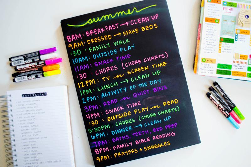 DIY chalkboard summer schedule
