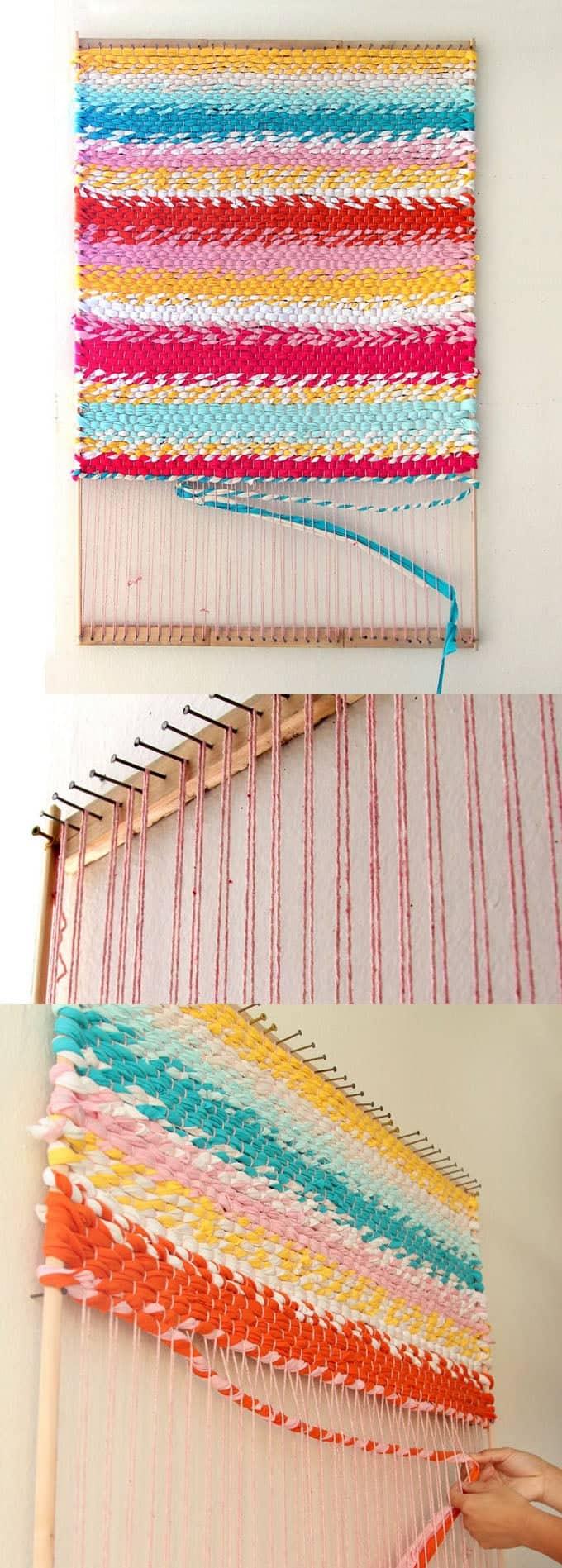 DIY woven t-shirt rag rug (via www.apieceofrainbow.com)