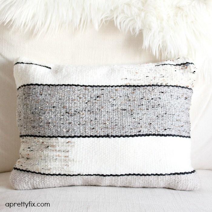 DIY striped woven pillow (via aprettyfix.com)